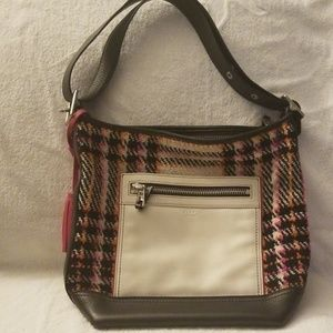 Coach Legacy Duffle Tweed Plaid Leather